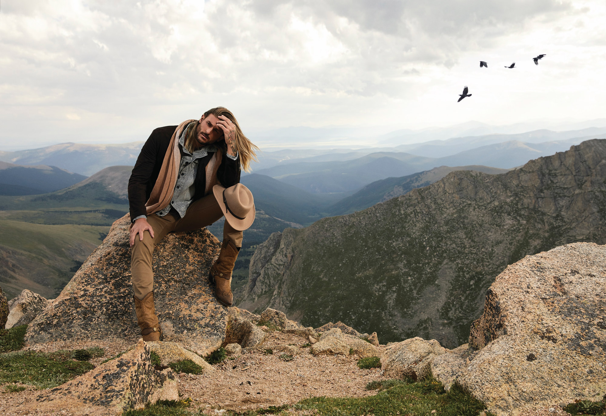 portrait of male model at mt evans in colorado