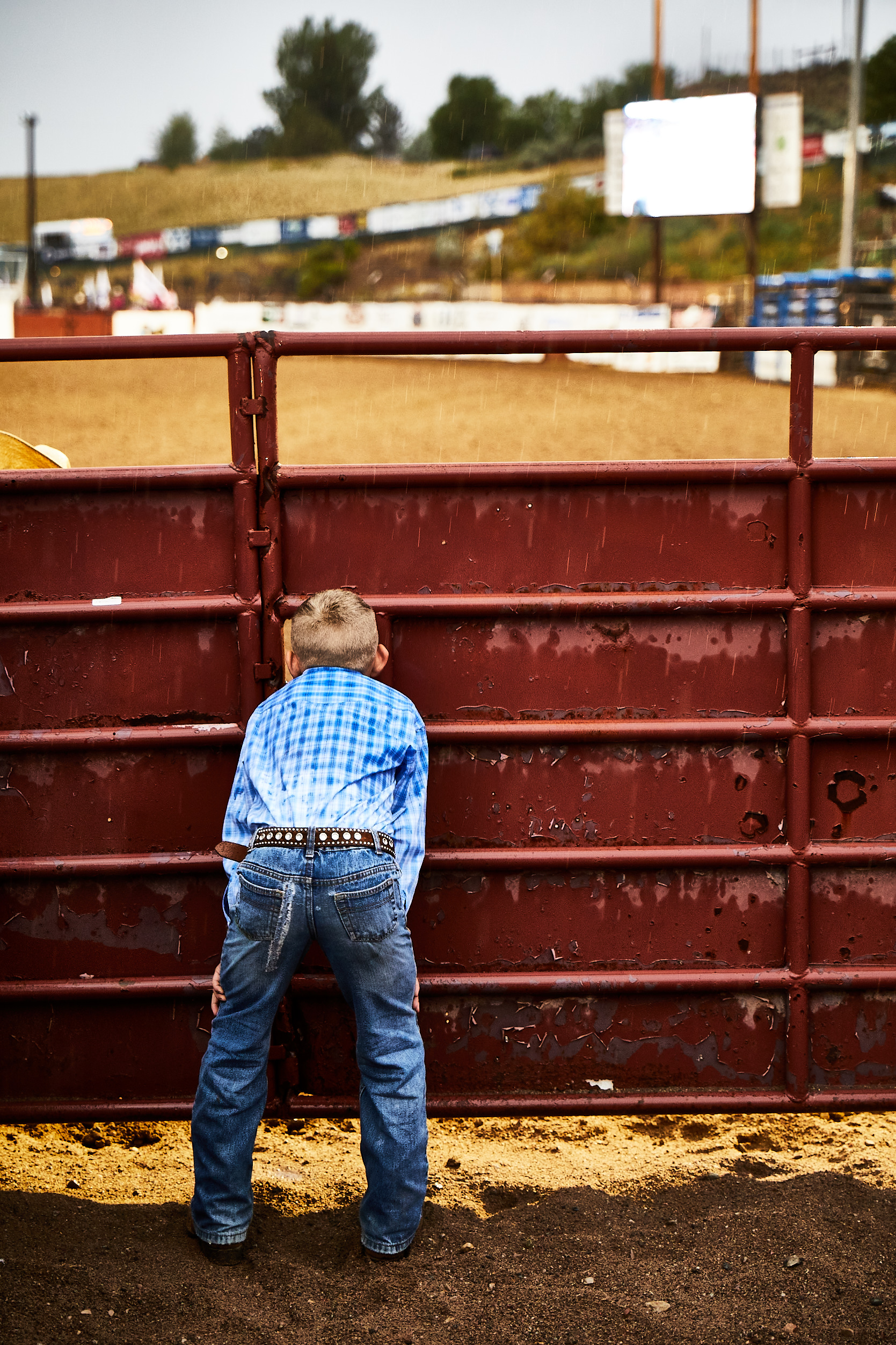 Eagle rodeo in eagle colorado kid looking through fence