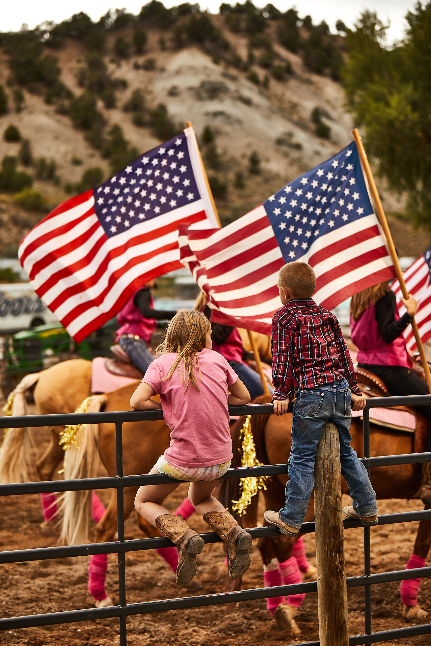 Eagle rodeo in eagle colorado american flags